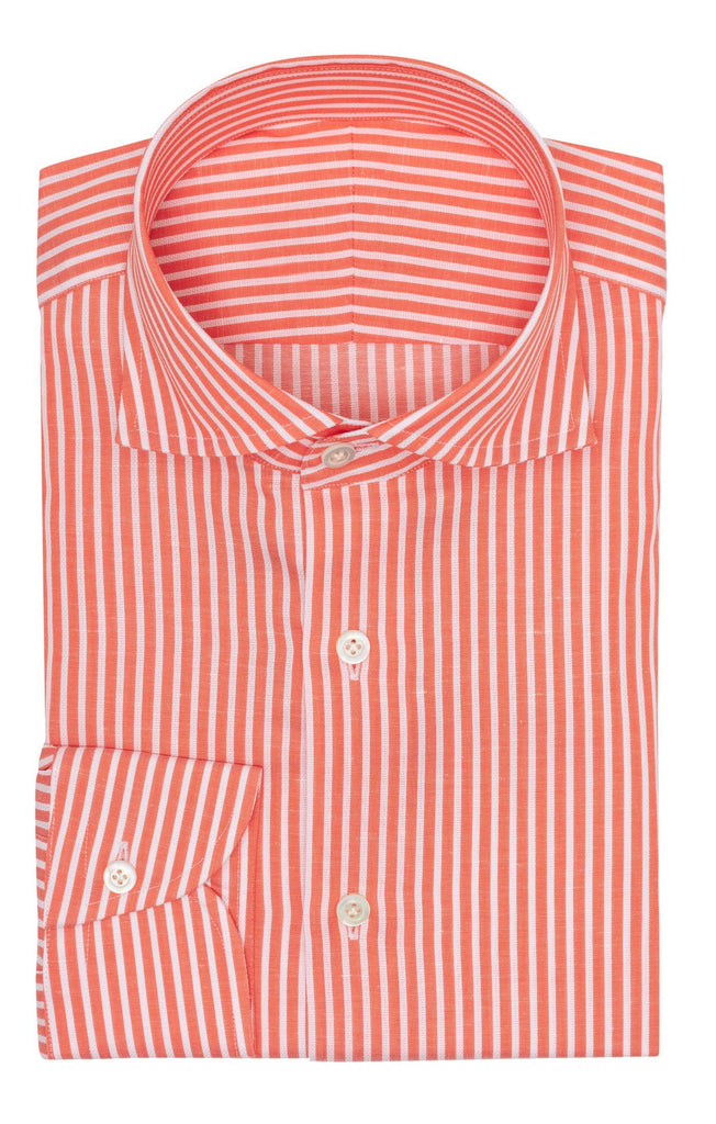 Weba coral cotton linen twill with white stitched stripes