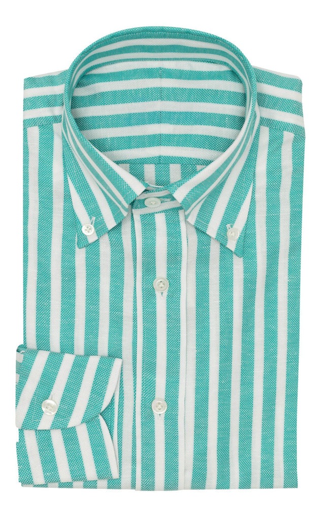 Weba Teal Cotton & Linen Basketweave with White Stripes