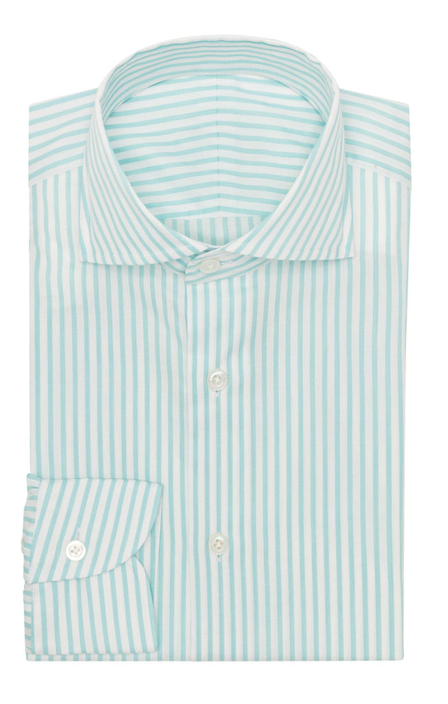 Weba white cotton with teal green classic stripes