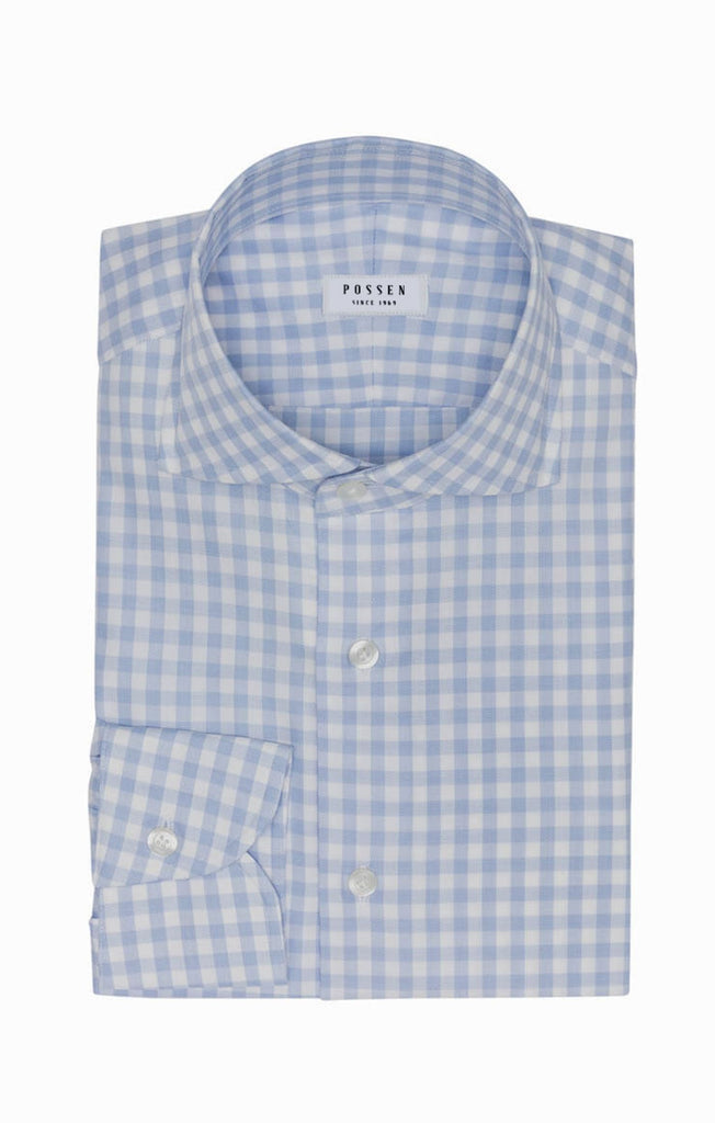 Weba White Cotton with Light Blue Check
