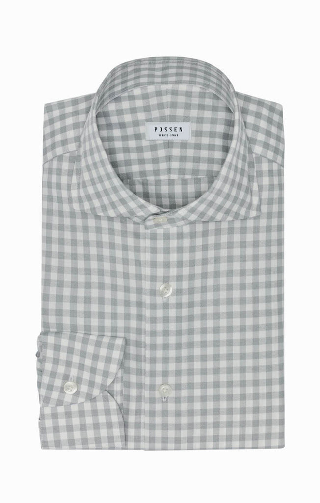 Weba White Cotton with Light Grey Check