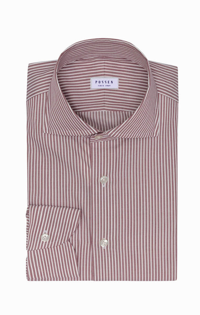 Weba White Cotton with Bordeaux Stripes