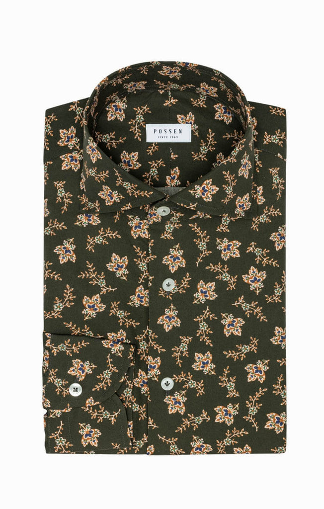 Albini Olive Green Cotton with Persian Floral Print