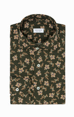 Albini olive green cotton with Persian floral print Inspiration