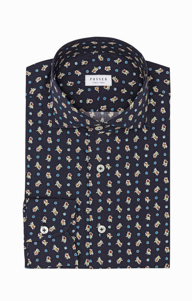 Albini Dark Blue Cotton with Vintage Floral Dot Mosaic Print