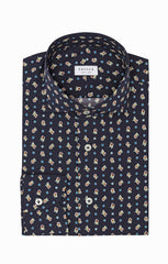 Albini dark blue cotton with floral dot print Inspiration