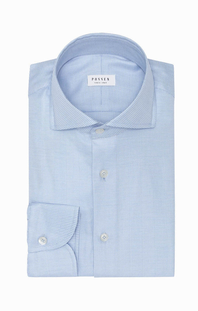 Albini Light Blue Soft Flannel with Herringbone