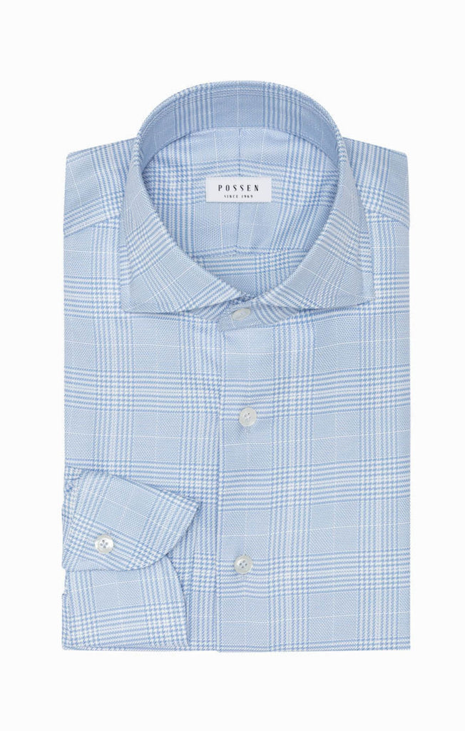 Albini Light Blue Cotton Soft Flannel with Check