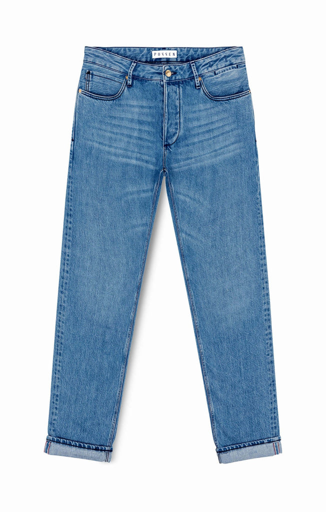Candiani Used Blue Selvedge Rigid Washed Jeans