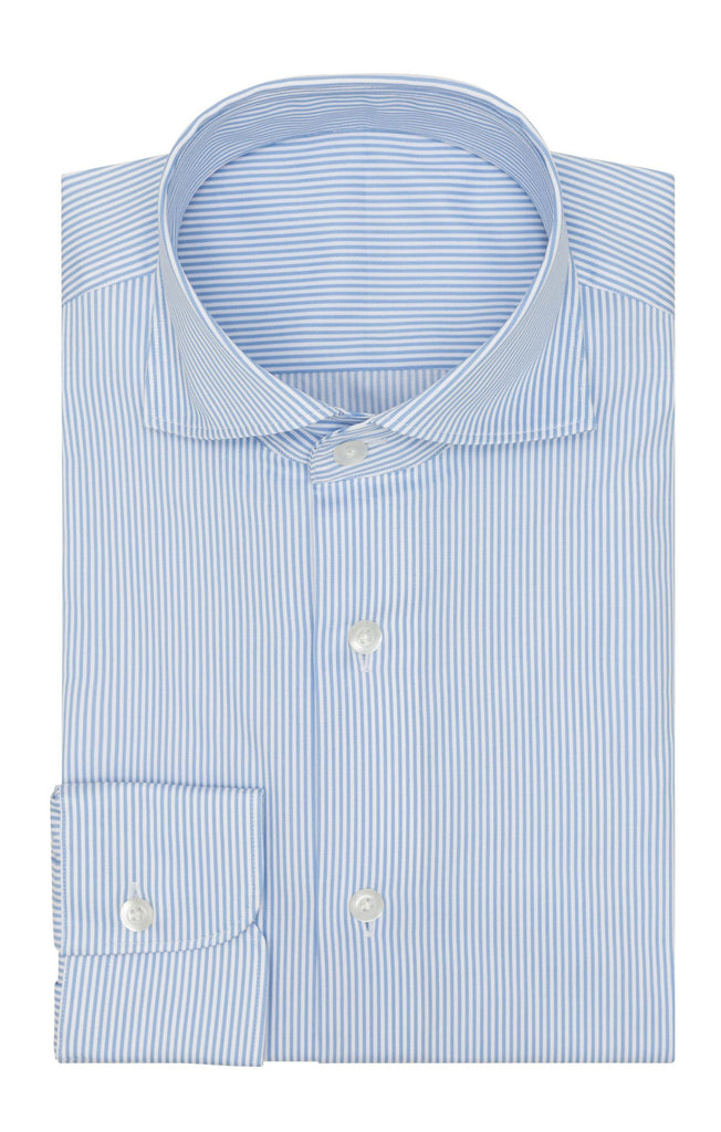 Thomas Mason Twill Stripe Mid Blue Two Ply Cotton