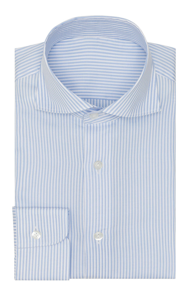 Thomas Mason Oxford Stripe Light Blue Two Ply Cotton