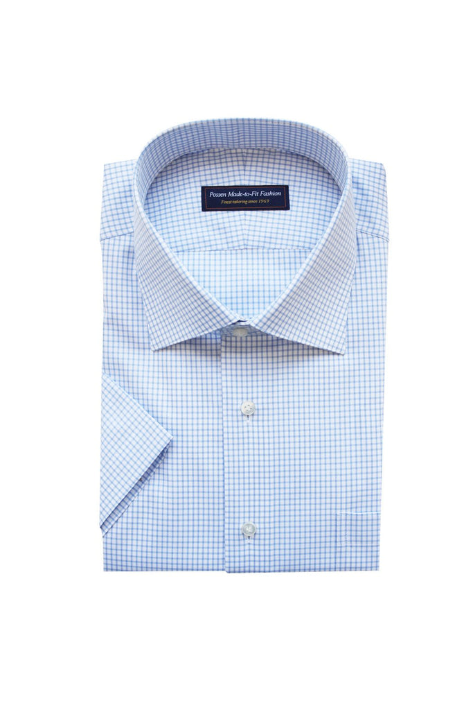 Thomas Mason twill check light blue
