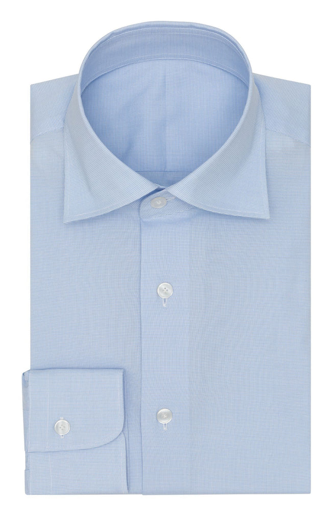 Thomas Mason poplin pied de poule light blue