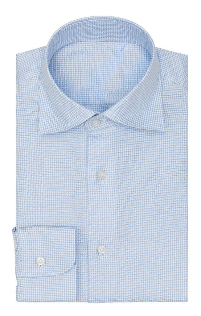 Thomas Mason twill pied de poule light blue