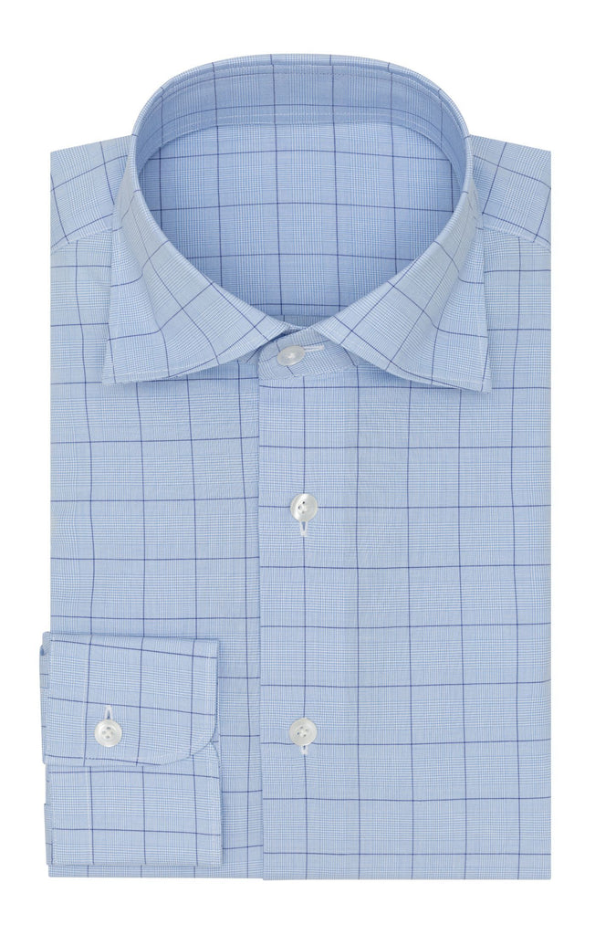 Thomas Mason poplin glen light blue dark blue