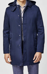 Olmetex Blue Cotton Blend Unconstructed Water-Repellent Coat