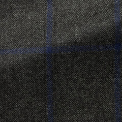 Loro-Piana-dark-grey-wool-with-blue-windowpane-C280gr Fabric