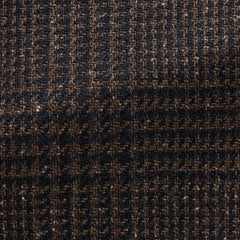 Ferla-mid-brown-navy-wool-alpaca-silk-with-glencheck-JD320gr Fabric