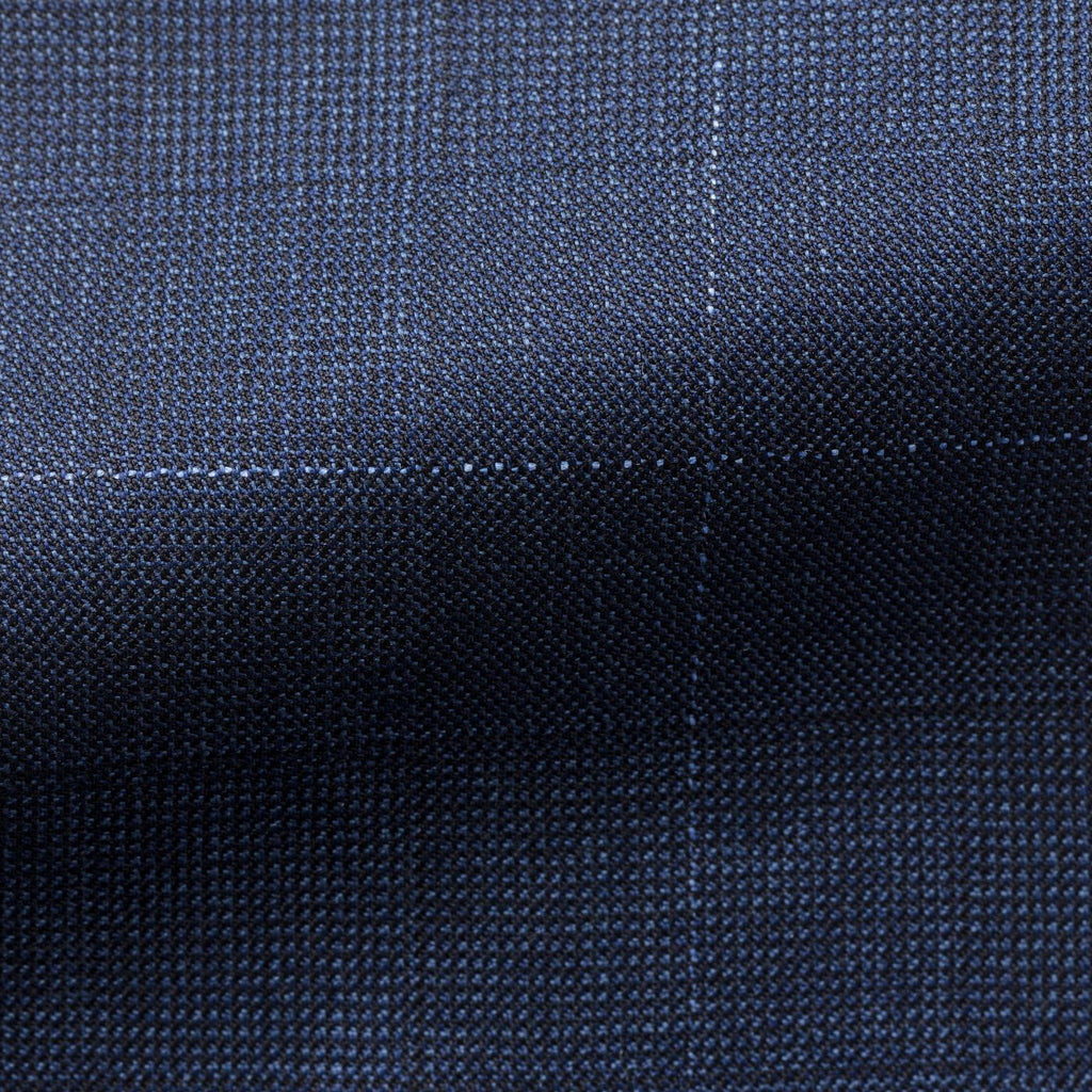 mid blue wool check with fine white windowpane