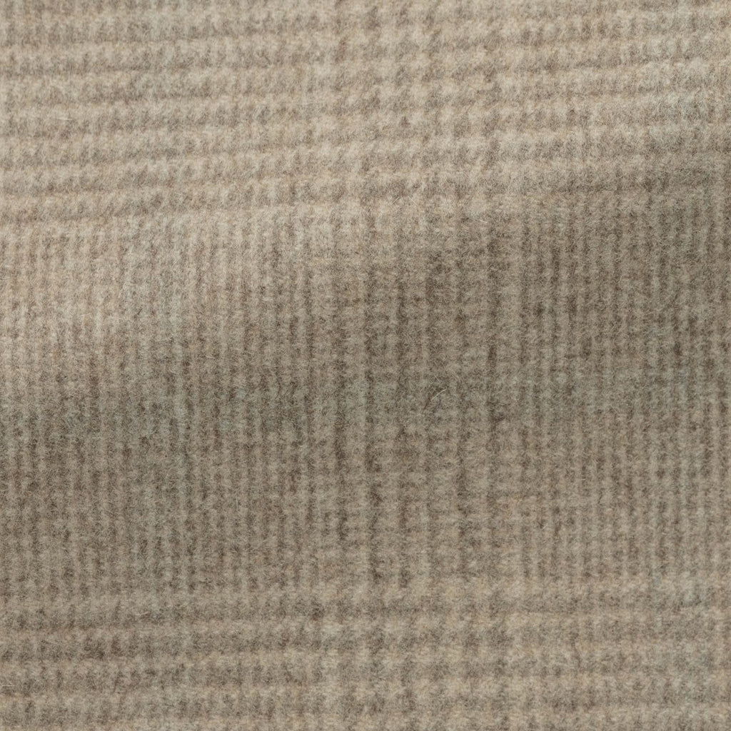 light   brown speckled brushed wool cashmere glencheck with light   grey windowpane