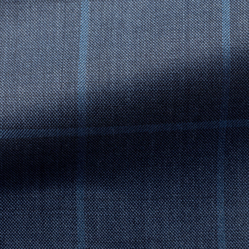 slate blue sharkskin with light blue windowpane