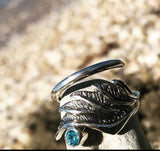 Angel wing ring, wing ring with gemstone, silver wing ring