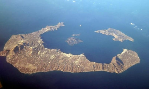 santorini view from a plane a great greek handmade product destination