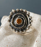 Sun ring silver with gemstone, swirl ring, statement ring