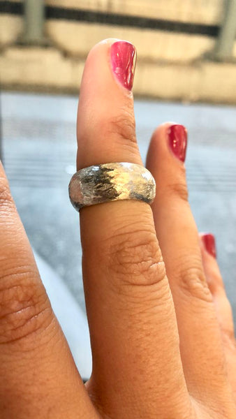 Thick silver band, Hammered texture ring, Thick silver ring