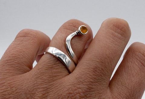 citrine silver wave ring, citrine ring, November birthstone silver ring - Handmade with love from Greece
