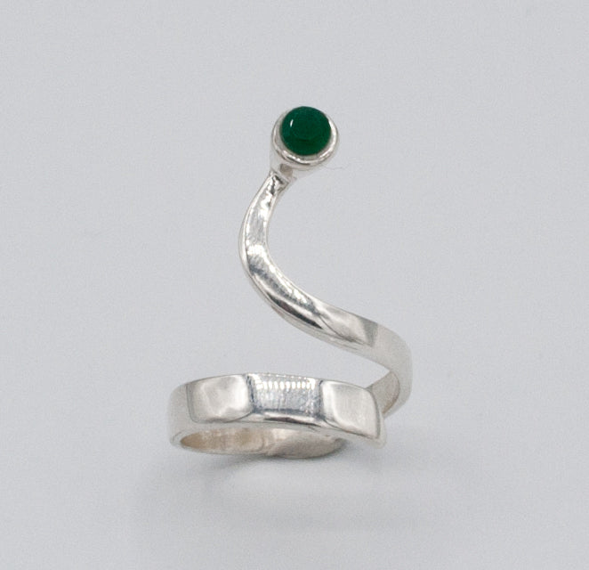 green agate silver wave ring, agate ring, green stone silver ring