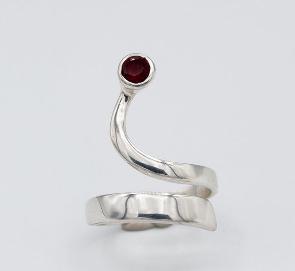 red garnet silver wave ring, red stone ring, January birthstone silver ring