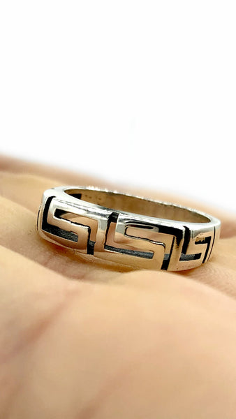 Greek key ring, meander, meandros, sterling silver ring, greek band ring