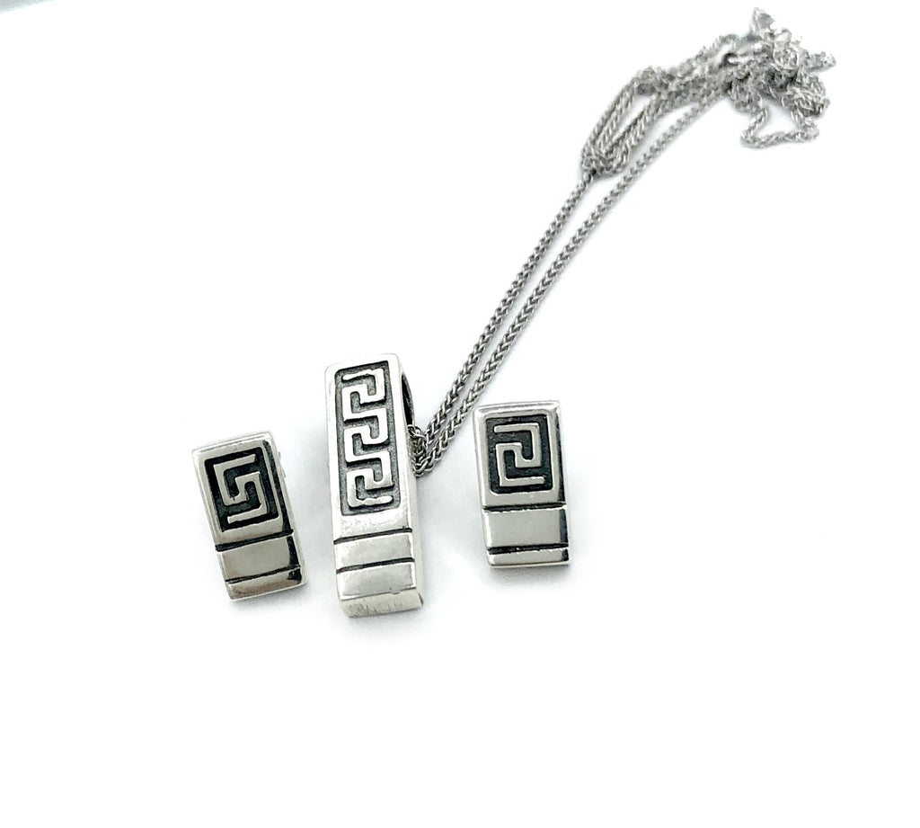 greek key pendant and earring set, greek jewelry, meander jewelry set