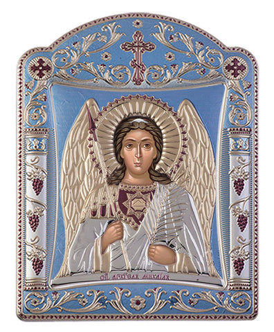 Archangel Michael, Eastern Orthodox Icon, Blue Ciel 16.7x22.4cm - Handmade with love from Greece