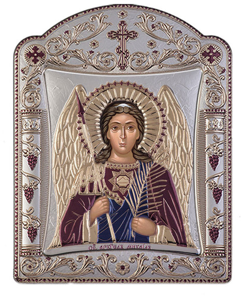 Archangel Michael, Eastern Orthodox Icon, Burgundy 16.7x22.4cm