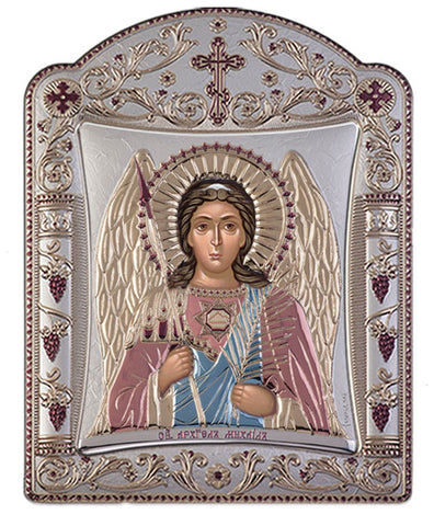 Archangel Michael, Eastern Orthodox Icon, Red & Blue 16.7x22.4cm
