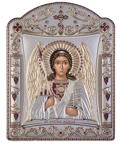 Archangel Michael, Eastern Orthodox Icon, Silver 16.7x22.4cm