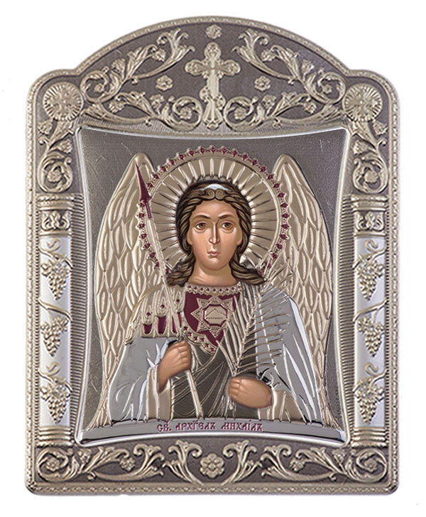 Archangel Michael, Eastern Orthodox Icon, grey 16.7x22.4cm