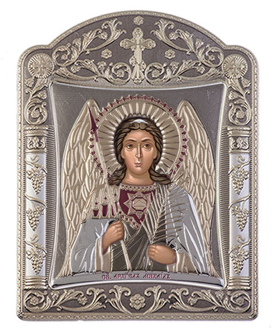 Archangel Michael, Eastern Orthodox Icon, grey 16.7x22.4cm - Handmade with love from Greece