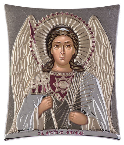 Archangel Michael, Eastern Orthodox Icon, grey 16x20cm - Handmade with love from Greece