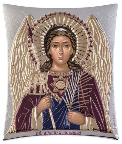 Archangel Michael, Greek Eastern Orthodox Icon, burgundy 16x20cm - Handmade with love from Greece