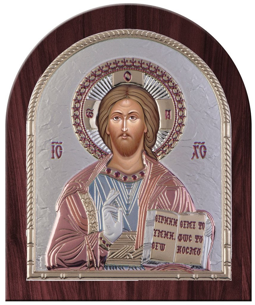 Jesus Christ Silver Greek Orthodox Icon, Red and Blue 26.2x32.1cm