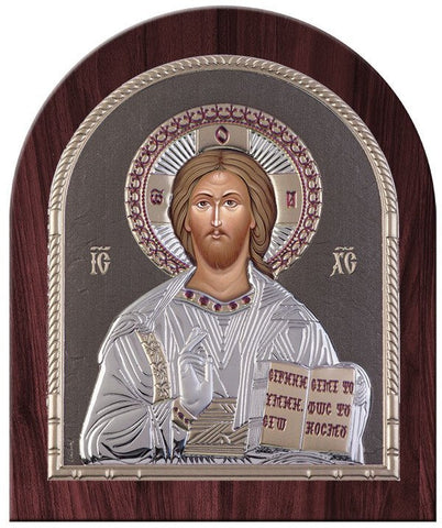 Jesus Christ Silver Greek Orthodox Icon, Grey  26.2x32.1cm - Handmade with love from Greece