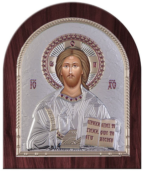 Jesus Christ Silver Greek Orthodox Icon, Silver 26.2x32.1 cm