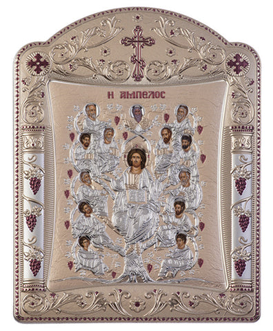 Jesus Christ Tree of Life, Russian Orthodox Icon, Grey 11.3x15.2cm - Handmade with love from Greece