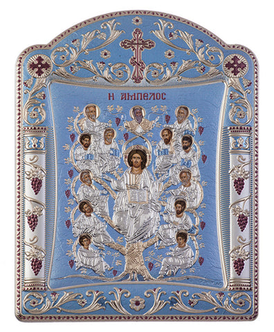 Jesus Christ Tree of Life, Silver byzantine iconography, Blue Ciel 16.7 x 22.4cm - Handmade with love from Greece