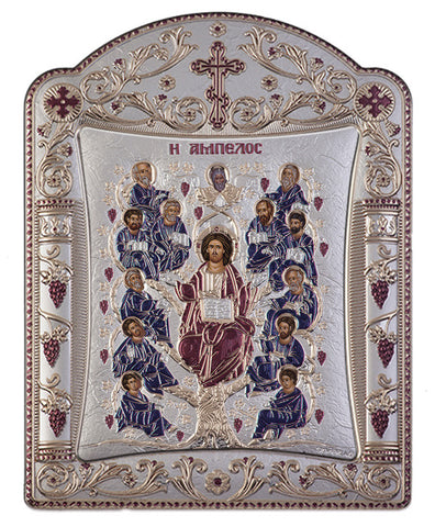 Jesus Christ Tree of Life, Greek religious Orthodox icons, Burgundy 22.7 x 30.5cm