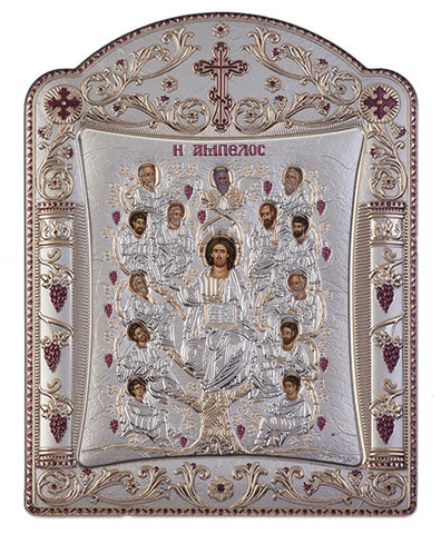 Jesus Christ Tree of Life, Greek religious Orthodox icons, Silver 22.7 x 30.5cm - Handmade with love from Greece