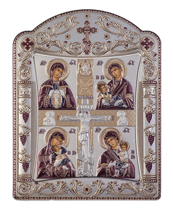 Virgin Mary Motherhood, Greek Christian icons, Burgundy
